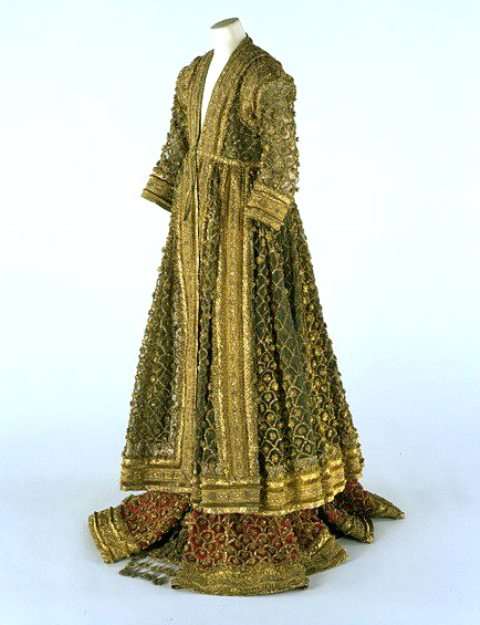 Late mughal period costumes vintage indian clothing womans court costume silk with gold and silver braid and pompoms lucknow c1830 40 sciox Choice Image