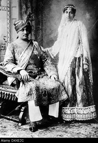 Nawab of Janjira (1879-1922) born 1862 and Nazli Begum of Jangira (1874-1968) Sister of Atiya Fyzee, Maharashtra India. Image shot 1908. Exact date unknown.